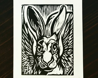 Rupert, the Winged Hare - block print by Angel Hawari.