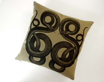 Vipers silk screened cotton canvas throw pillow 18 inch black on khaki