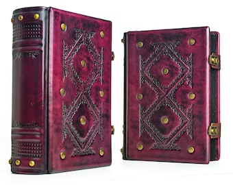 """8"""" x 10"""" - Large Leather Journal - Crimson Leather, Book of Shadows, Magician book, Leather Sketchbook, Gift book"""