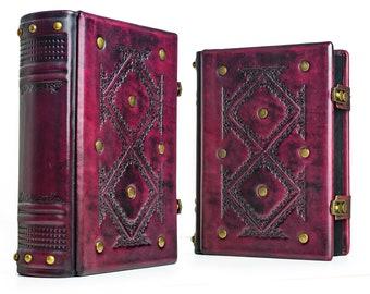 """8 """"x 10"""" - gran revista de cuero - cuero carmesí, libro de las sombras, mago, cuaderno de cuero, regalo del libro"""