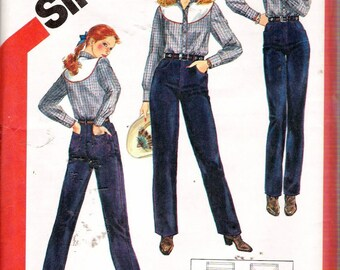 Vintage 1982 Simplicity 5499 Close Fitting Jeans Sewing Pattern Size 20 Waist 34""