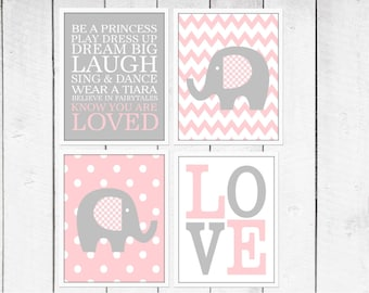 Elephant  Nursery Prints  - 4 Print Set -  Nursery Decor -  Custom Colors -  Pink and Gray  Nursery Decor