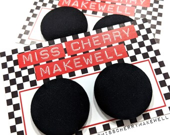 Plain Black Rockabilly 1940's 1950's Pin Up Retro Vintage Inspired Stud or Clip On Fabric Button Earrings By Miss Cherry Makewell