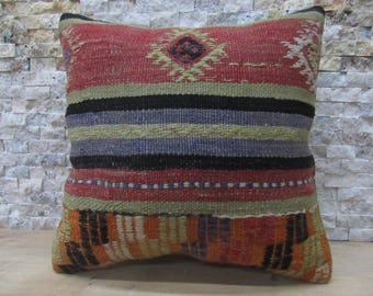 Kilim Pillow 16x16 Modern Universal Ethnic Pillow Vintage Nomadic Plant Dyed Cedar Pillow Decorative Pillow Throw Pillow