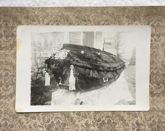 Antique Photo of Ornate Black Coffin