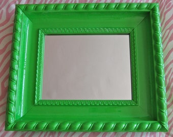 Large Decorative Wood Mirror Painted - Glossy Grass Green