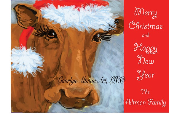 Cow in Santa Hat Christmas Cards Package of 20
