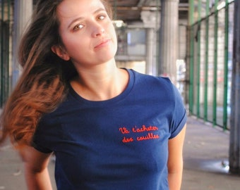 Unisex blue tshirt with funny hand embroidered