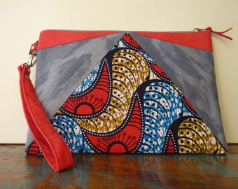 Bag trend in wax and suede with removable wrist strap / / grey and Red / / ethnic chic, modern / / unique / / gift for her