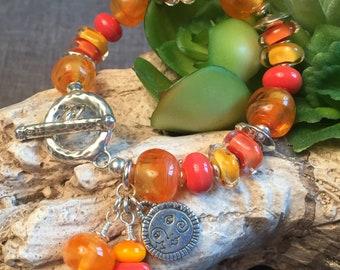 ORANGE MARMALADE, artisan lampwork and sterling silver bracelet