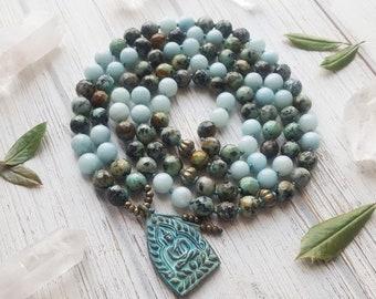Mala Necklace 108 Mala Beads Buddha Necklace 108 Mala Beads Mala Prayer Beads Yoga Necklace Knotted Mala Turquoise Amazonite Mala Beads 108