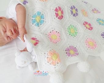 CROCHET PATTERN - Doris Daisy Crochet Blanket Pattern Baby Blanket Pattern, Hexagon Crochet Pattern Baby Crochet Pattern With Photo Tutorial