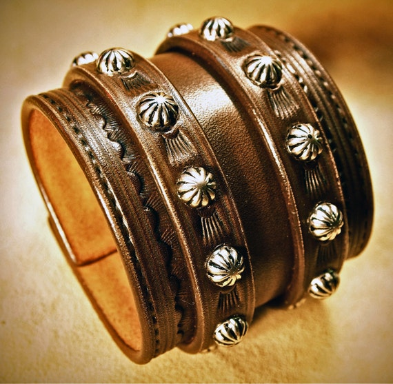 Leather Wrist Cuff Saddle BrownTraditional American Cowboy ROCKSTAR Bracelet made for YOU in New York by Freddie Matara