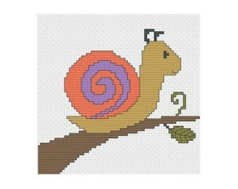 Snail Pattern, Instant Download, Cross Stitch Pattern, PDF Pattern, Digital Download, Easy Cross Stitch