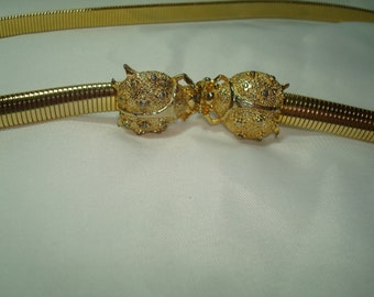 1975 Mimi Di N Golden Stretchy Skinny Belt with Ladybugs Buckle.