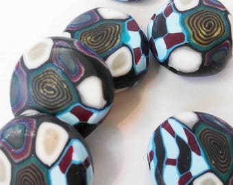 Polymer clay pillow beads, handmade loose beads, jewelry making