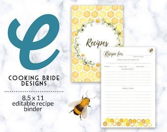 Printable Recipe Binder Kit   Editable Recipe Template   Blank Recipe Book   Recipe Binder 8.5 x 11   Recipe Organizer   DIY Recipe book