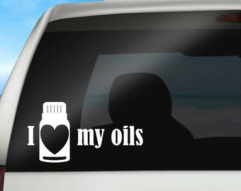 "Essential Oil ""I {heart} My Oils"" Vinyl Decal for Car or Laptop"