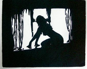 SOPHIA waiting ORIGINAL woodcut