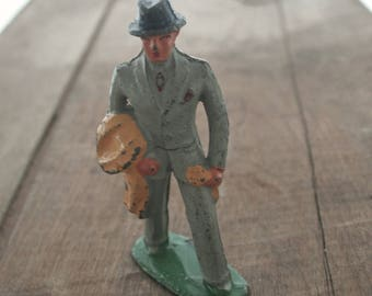 Antique Vintage Lead Toy Barclay Man Passenger Figurine B-158 (#611) -  1940s
