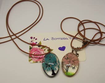 Brown chain cord waxed glass lanyard necklace nature painted pink tree Blue