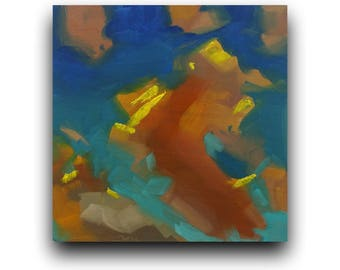 original oil painting, sky coulds oil painting,small painting, pallet knife painting,sky painting,clouds painting,sunset painting, wall art