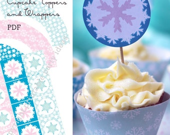 Winter Wonderland cupcake toppers and wrappers - Printable PDF