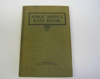 1912 Antique Book Public Service Rate Book Boston MA Old Colony Trust