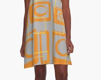XL  Dress  Summer Dress  Womens Gift Dress Party Dress Retro Dress  Mini Dress Mod Dress Casual Dress Chiffon Dress Gift for Women Gray