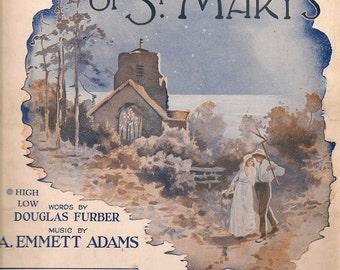 The Bells of St. Mary's + Douglas Furber  + A. Emmett Adams + 1917 + Vintage Sheet Music