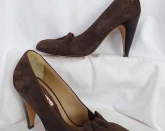 MARNI chocolate brown suede pumps with scalloped and drawstring detail/ curved heel: size IT 38= fits US 7.5