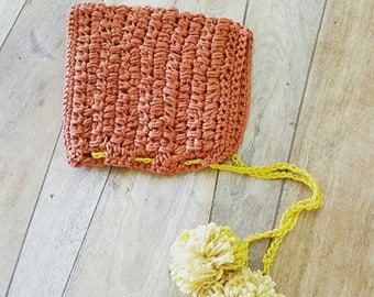 Crochet Newborn Bonnet, Christmas Pixie Bonnet with pom poms, Baby Bonnet in Tangerine and Gold Organic Cotton, Newborn Photo Prop.