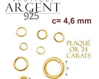 X10 anneaux ouverts en argent massif 925 plaqué or de dimensions 0,8 X 3 X 4,6 mm