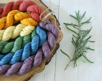 Merino Sock Yarn Mini Skeins - 6 x 20g - 4ply Pride Flag Rainbow Colours - hand dyed
