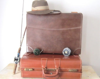 Vintage Luggage Old Suitcase Large Leather Travel Hard Sided Brown
