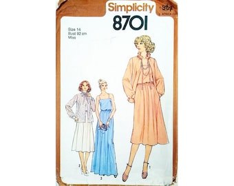 """Part UNCUT Simplicity 8701 Vintage 70's Spaghetti Strap Floaty Mid or Maxi Evening Dress Gown and Jacket Sewing pattern Size Bust 36"""" UK 14"""