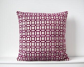 Pink geometric cushion cover, Throw cushion cover, Scatter cushion cover, Throw pillow cover, Decorative pillow cover
