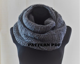 Infinity scarf - KNITTING PATTERN only - not a final product! Pattern in English. Instant: PDF Download. Written instructions with diagram.