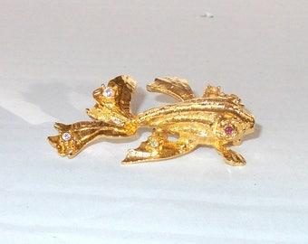 Graziano Pin, Graziano Brooch, Gold Fish Pin, Gold Rhinestone Fish Pin, Gold Rhinestone Fish Brooch, Gold Fish Pin, Gold Fish Brooch, Fish
