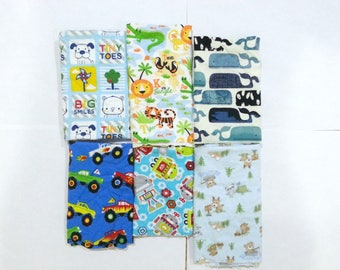 Boys Cotton Flannel Fabric Scraps/ Boys Cotton Flannel Fabric Remnants (#04)