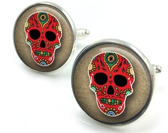 Sugar Skull Cufflinks, day of the dead, dia de los muertos, skull, cuff links 8