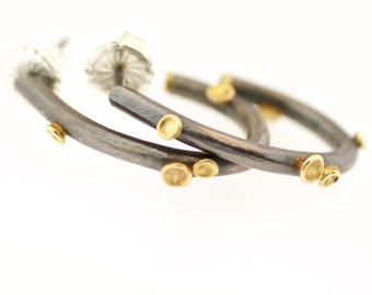 Lichen Hoops Sterling Silver 18 Karat Gold Recycled Metal SMALL and LARGE