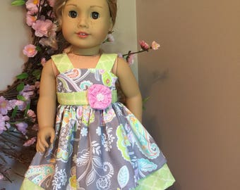 "Summer dress for the American Girl or 18"" doll"