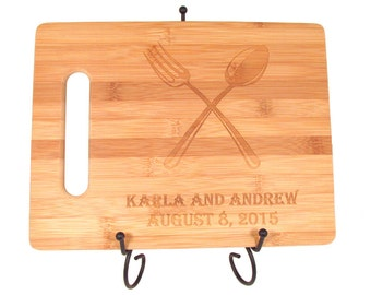 Bamboo Cutting Board - Fork & Spoon Design - Personalized Cutting Board