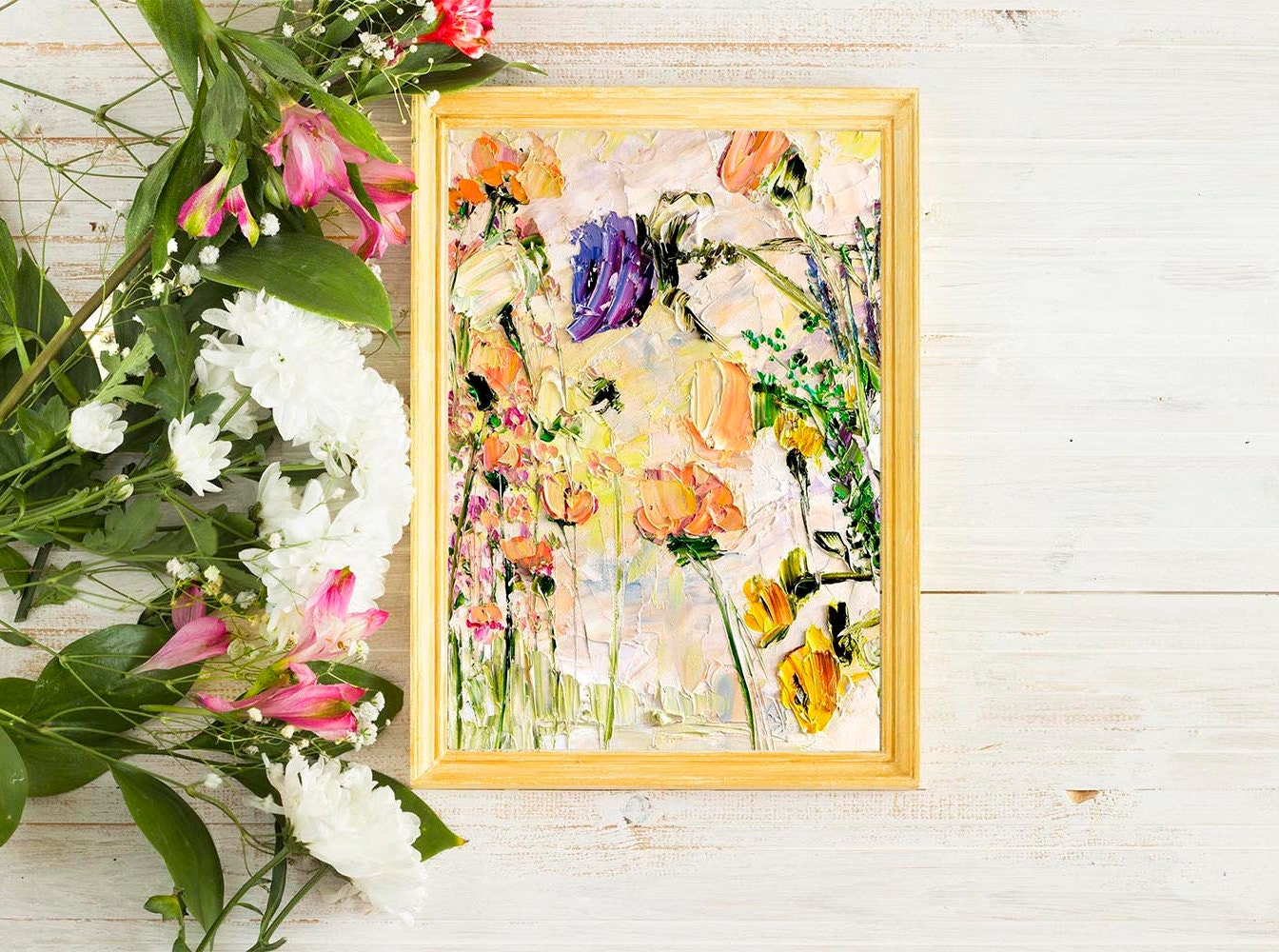Peach Pink Painting Flower Painting Floral Wall Art Yellow