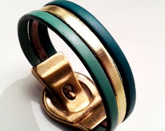 Bracelet leather Mint gold and teal with gold magnetic clasp belt