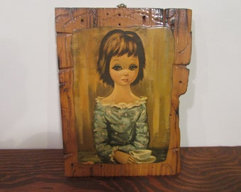 Vintage Big Eye Girl Wooden Wall Plaque