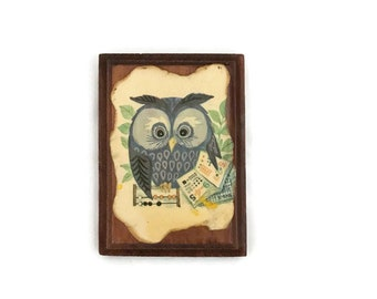 Vintage Owl Wall Plaque, Decoupage on Wood, Small Wall Art, Math Owl with Abacus