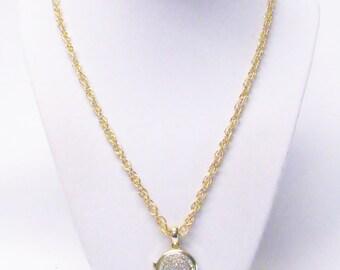 Round Gold Vintage Locket w/Gems Pendant Necklace