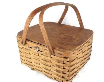 Vintage 1940's Oak & Ash Picnic Basket, Peterboro Basket, Vintage Split Oak Weave Picnic Basket, Bent Wood Handle